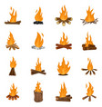 bonfire night fire icons set isolated vector image