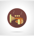brass wind tuba music flat round icon vector image vector image