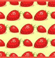 cartoon fresh strawberry fruits seamless pattern vector image vector image