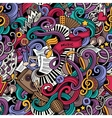 cartoon hand-drawn doodles music seamless pattern vector image