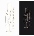 champagne bottle logo glass on black vector image