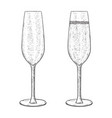 champagne glass empty and full hand drawn sketch vector image vector image