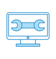 computer desktop with wrench vector image vector image