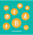 cryptocurrency on blue background digital vector image vector image