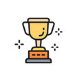 cup trophy award winner flat color line vector image