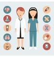 doctor and nurse flat icons vector image