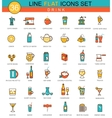 Drinks flat line icon set Coffee alcogol vector image vector image