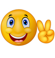 Emoticon with v sign vector image