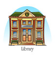 flat public library building in thin line vector image