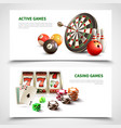 games realistic banner set vector image