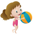 girl in pink swimmingsuit holding ball vector image