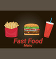 hamburger french fries cola street festival fast vector image