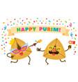 hamentaschen dancing in a purim party vector image vector image