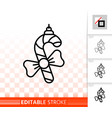 hanging candy cane simple black line icon vector image vector image