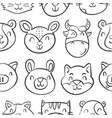 head animal style funny doodles vector image vector image