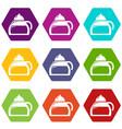 honey tea icons set 9 vector image