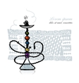 Hookah sketch for your design vector image