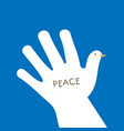 international peace day with hand making the form vector image vector image
