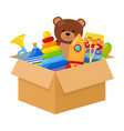 kid toys in a box vector image vector image