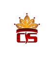 letter cs cigarette crown vector image vector image