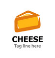 logo emblem with cheese isolated on white vector image vector image