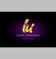 lu l u 3d gold golden alphabet letter metal logo vector image vector image