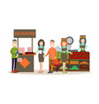 people buying groceries in vector image vector image