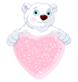Polar Bear Holding Heart Shape Sign vector image vector image