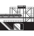 railway pedestrian underpass and overpass vector image vector image