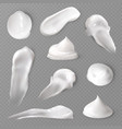realistic cosmetic cream smears white creamy drop vector image vector image