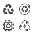 recycle sign e-waste garbage icons on white vector image vector image