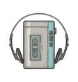 retro portable audio tape recorder with headphones vector image