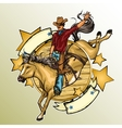 Rodeo Cowboy riding a horse vector image