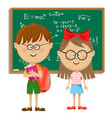 school kids with glasses standing near blackboard vector image