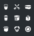 set of disposable tableware icons vector image vector image