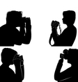 Set of people silhouettes taking pictures vector image vector image