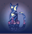 Silhouette of a cat and the city nightlife vector image