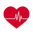 simple flat red heart icon with ekg pulse haert vector image