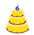 Sixth birthday cake vector image vector image
