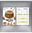 Sketch style hand drawn fast food cafe restaurant vector image vector image