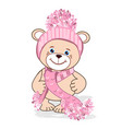 teddy bear in a knitted hat vector image vector image
