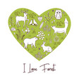 vintage heart shape with forest animals and plants vector image