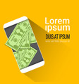 web mobile wallet app money on cell smart phone vector image vector image