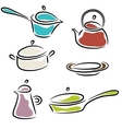 with collection of ware isolated on white vector image vector image