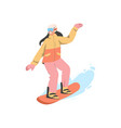 woman in uniform is riding snowboard vector image vector image