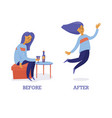 woman sad before and happy after drinking wine vector image