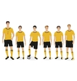 Young guys school football team with coach trainer vector image vector image