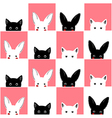 Black White Pink Cat Rabbit Chess board vector image