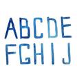 Watercolor alphabet A J Hand drawn artistic A J vector image