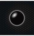 3D Black sphere over dark honeycomb background vector image vector image